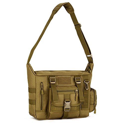 Huntvp Taktisch Schultertasche Militär Crossbody Bag Sling Tasche Wasserdicht Umhängetasche Messengerbag Aktentasche mit Verstellbar Schultergurt Outdoor - Braun