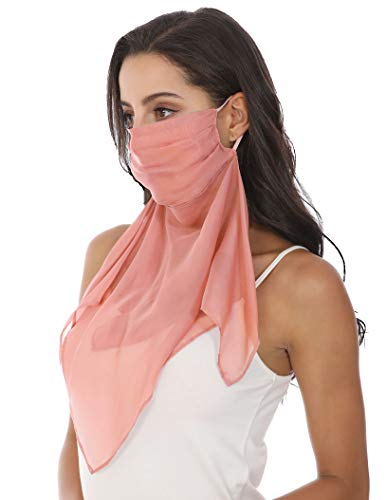 100% Mulberry Silk Scarf Mask with Filter Pocket, Pretty Fashion Face Gaiter with Earloops, Multi-functional Face Mask Scarf/Bandana/Headband/Neck Gaiter (Coral)