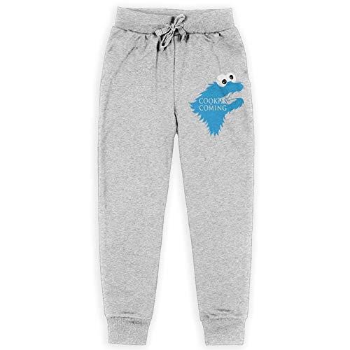 Cookie Monster is Coming Kinder Jogginghose Elastisch Sweatpants Traning Hose Schwarz Gr. 27-32, grau