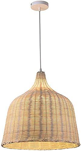 Lámpara de araña de mimbre de bambú para interiores Lámpara colgante natural hecha a mano de ratán, lámpara de tejer a mano E27, para restaurante, pasillo, dormitorio, 35 x 35 cm