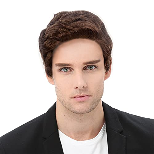 STfantasy Wig for Men Male Guy Short Middle Brown Wigs Layered Natural Hair for Cosplay Costume Party Halloween