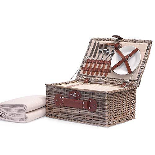 Weiden Picknickkorb Für 2 Personen Mit Integriertem Kühlfach Und Zubehör - Eine Charmante Geschenkidee Zum Geburtstag, Hochzeit, Ruhestand, Jubiläum