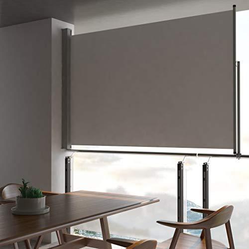 Festnight Einziehbare Seitenmarkise Seitenwandmarkise Ausziehbar Windschutz und Sichtschutz Robust Seitenrollo Balkon Terrasse und Garten160 x 300 cm Grau