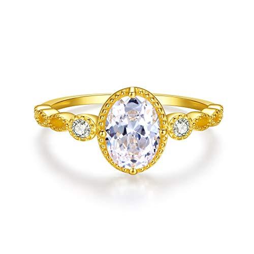 VIKI LYNN - Anello di fidanzamento da donna in argento Sterling 925 con zirconi cubici taglio ovale e Argento, 11, colore: Oro, cod. AQER003286-6