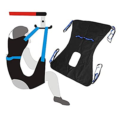 "Power Patient Lifter Full Body Toileting Sling Medical Lift Equipment Transfer Belt Chair to Large (51""x 41"") Commode and Bath Four Point Sling for Bariatric, Elderly"
