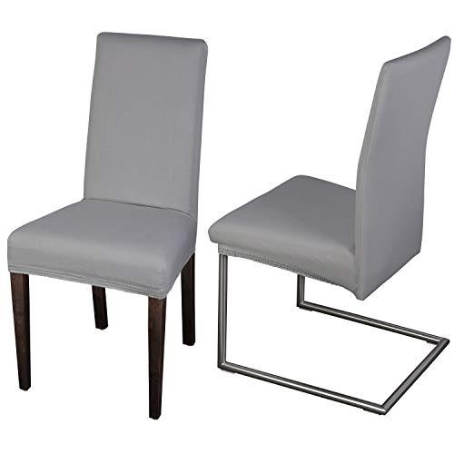 Staboos Stuhlhussen 2er Set aus 96% Baumwolle - Bi-elastische Stretch Stuhlüberzüge - Universal Stuhlbezug - Stuhlabdeckung waschbar & bügelfrei, Hellgrau