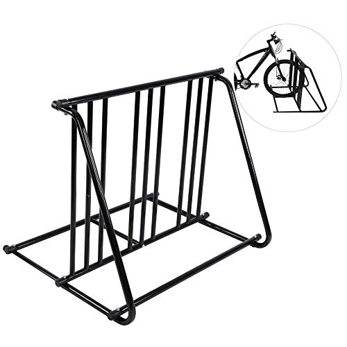 GOTOTOP Bikes Floor Mount Parking HD Steel Rack Storage Bicycle Yard Outdoor Stand for 6 Bicycle in Garage or Home Organizer and Upright Park Your Road, Mountain,Kids or Hybrids Bikes