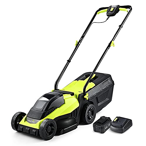 Cordless Lawn Mower, 14 Inch Electric Lawn Mower with Brushless Motor, 20v 4.0ah Battery and Charger, 2-in-1 Grass Bag, Push Lawn Mower