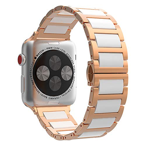 MoKo Correa Compatible con iWatch Series 6/5/4/3/2/1 38mm 40mm, Banda de Reloj de Acero Inoxidable Cerámica Enlace con Hebilla Mariposa para iWatch SE 40mm, Oro Rosa