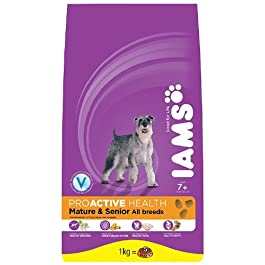 IAMS Adult Senior and Mature 7+ Chicken Dry Dog Food 1 kg (Pack of 4)