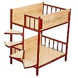 Cama del Animal doméstico litera Cama de Hierro para Perros, Litera elevada Impermeable para Mascotas con escaleras, Camas dúplex para Perros Grandes, medianos y pequeños(Size:57x44x68cm,Color:Rojo)