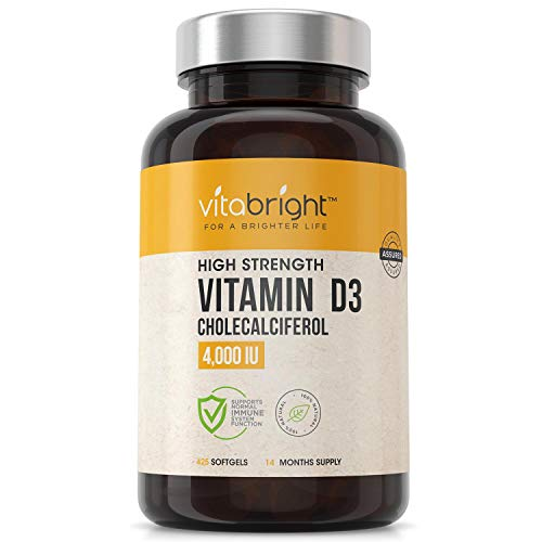Vitamin D3 4000 IU - 14 Month Supply - UK Made 425 Softgel Vitamin D3 Capsules - Maximum Strength Vitamin D Supplement - Easy to Swallow Vitamin D Tablets - High Absorption Cholecalciferol Vitamin