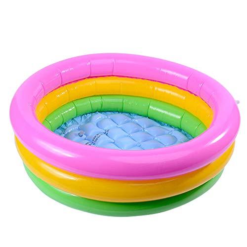 Tree2018 Piscina inflable para niños, piscina de PVC Sunset Glow Baby Piscina, diseño de 3 anillos de arco iris para exteriores, patio, césped, patio para edades de 2 años, PVC 60 x 21 cm/90 x 24 cm