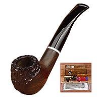 木材の煙パイプ、パイプなめらかな手彫りのPro 9ミリメートルフィルターアクセサリー煙