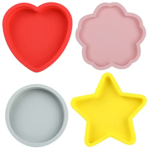 4pcs 6 Inth Cake Pans,Silicone Cake Molds Baking Bakeware Pan, Star & Cherry blossoms & Heart & Round Shapes Cake Baking Pans