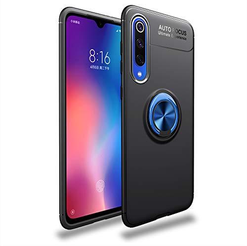 Capa compatível para Xiaomi Mi 9SE Capa de silicone Suporte de protetor magnético Anel de absorção de choque TPU + ABS Material Capa anti-queda:Preto Azul
