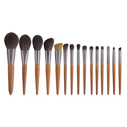 Pinceau de maquillage GCX- 15 Paquets de, Les Cheveux Doux, Doux en Poudre, Fard à paupières Brosse, Brosse de Maquillage Professionnel Beau (Color : Wood Color a)