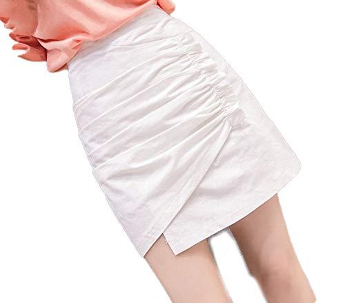 La Falda Blanca Femenina de Verano de Cintura Alta era Delgada Plisada Falda Corta Irregular Bolsa Falda-Blanco-XL