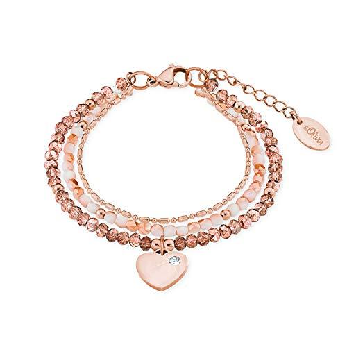 s.Oliver Mehrreihiges Gliederarmband für Damen mit einem Swarovski® Kristall