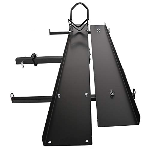ECOTRIC 600LBS Black Steel Motorcycle Carrier Mount Dirt Bike Rack Hitch Hauler |with Loading Ramp| Superior Heavy Duty
