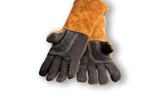 Kamin- & Grillhandschuhe, Hitzeschutz, aus echtem Leder, PAIR of GLOVES