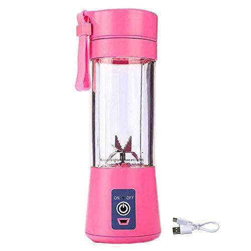 Licuadora Portátil , Licuadora Smoothie Mini Licuadora Personal, Licuadora USB Taza Pequeña Exprimidora, Mezclador De Frutas, Para El Hogar Deportes Al Aire Libre Oficina De Viajes 380ml (Pink)
