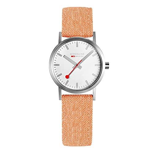 MONDAINE Movimiento de cuarzo clásico esfera blanca pulsera textil reloj para mujer A658.30323.17SBF