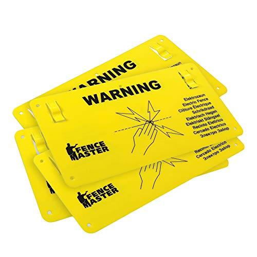 Sparangebot: 5X Warnschild Warnung/Vorsicht Elektrozaun - mit Clips zum Einhängen - international mit 9 Sprachen - beidseitig Bedruckt