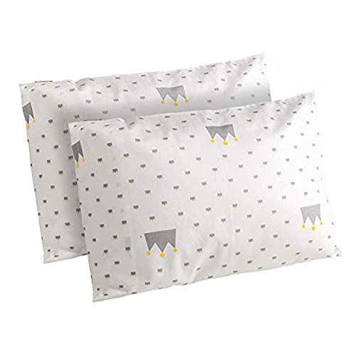 ZPECC Toddler Pillowcases Set of 2, Hypoallergenic 14x19 Pillow Cover Fits Pillows Sized 13x18 or 14x19, 100% Soft Cotton Envelope Closure Kids Pillowcase for Sleeping, Machine Washable(White Dot)