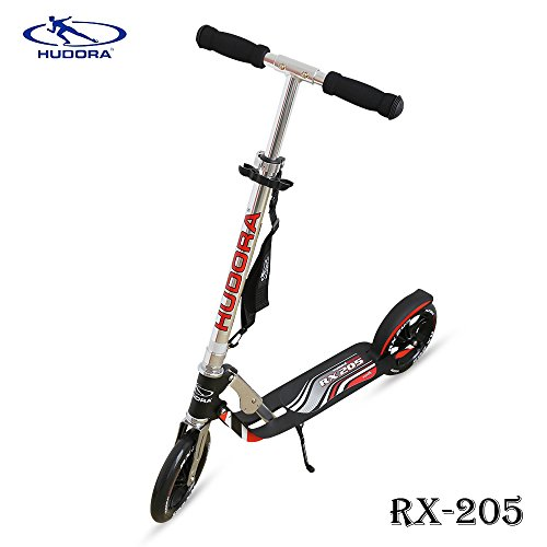 Hudora RX- 205 Kick Scooter with Big PU Cast Wheel Foldable and Adjustable T Handlebar, Reinforced Deck Supports 220lbs Weight Limit(Black), Better for Teens Adults,Great Christmas Gift.