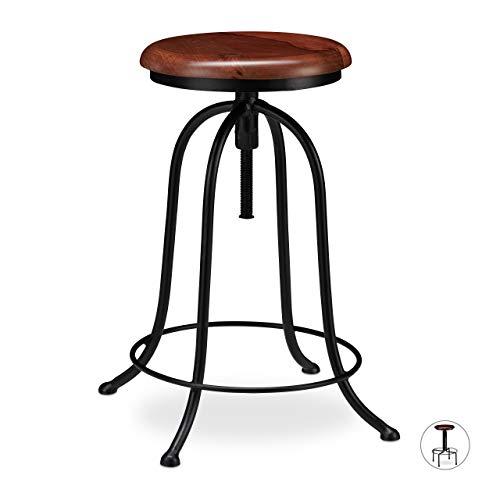 Relaxdays Taburete Cocina, Banqueta Bar, Vintage Industrial, Hierro-Madera, hasta 65 cm de Alto, Negro-Marron, Diseno A, 65 x 48 x 48 cm