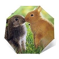 自動折りたたみ日傘 芝生の上でウサギの自動開閉8本骨傘 UVカット遮光 紫外線遮蔽率99% 耐風撥水 梅雨対策 携帯しやすい晴雨兼用