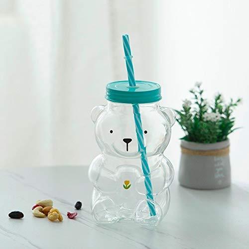 Preciosa botella de agua de cristal transparente con pajita de dibujos animados de plástico taza de agua linda para niños de la escuela Kawaii botellas (color: 001)