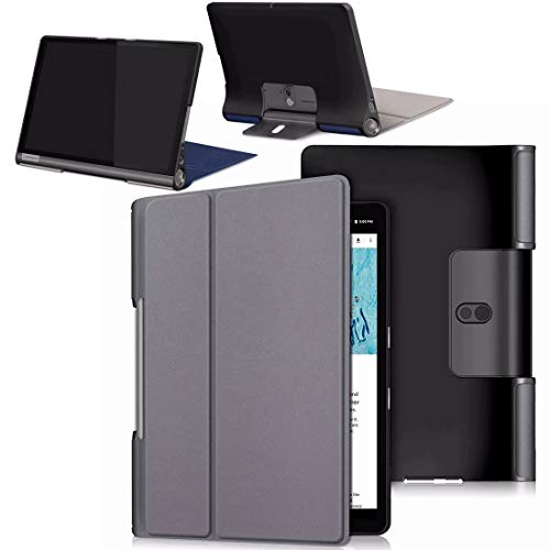 HYMY Hülle für Lenovo Yoga Smart Tab YT-X705F - Flip Case Cover Schutzhülle,Auto Sleep-Gray