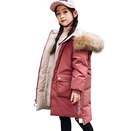 YFPICO Mädchen Mode Winterjacke mit Echt Fell Kinder Warm Verdickte Daunenjacke Daunenjacke Wintermantel Parka, Rosa, 122/128 (Etikettengröße:130)