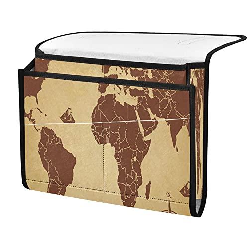 xigua Sailboat World Map - Organizador de mesa de noche con 4 bolsillos pequeños, bolsa para guardar el sofá de la mesita de noche para guardar el control remoto, libro y gafas, color gris oscuro