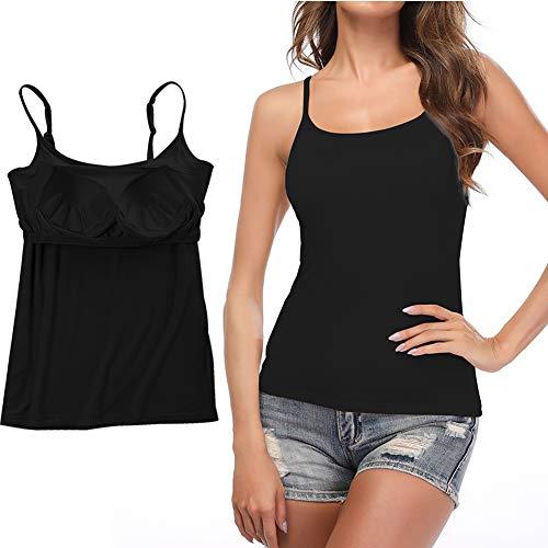 STARBILD Damen BH-Hemd Unterhemd Spaghettiträger Top Verstellbarem Spaghettiträger Komfortable Gepolsterte Unterhemd für Den Täglichen Gebrauch, Schwarz XL