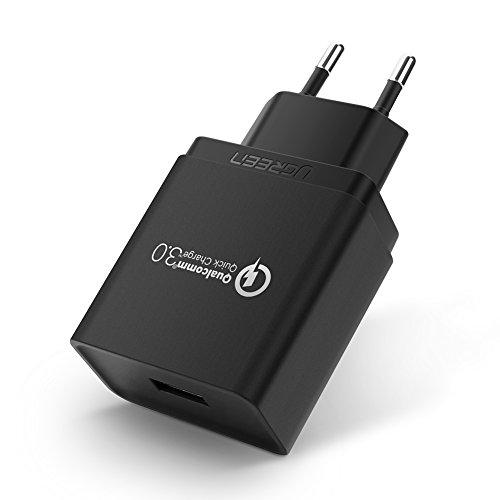 UGREEN USB Ladegerät Quick Charge 3.0 18W Handy Schnellladegerät für Samsung S8, S8 Plus, S9, S7, S7 Edge, Note9, Huawei P9, P8, P8 Lite, Mate8, Sony Xperia, Xiaomi Mix, HTC 10, Wireless Ladegerät
