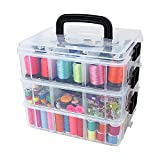 Bins & Things Stackable Storage Container with 18 Adjustable Compartments - Clear - Craft Storage / Craft Organizers and Storage - Bead Organizer Box / Art Supply Organizer