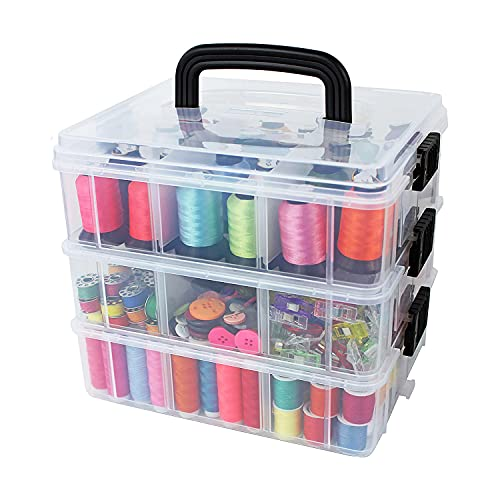 Bins & Things Stackable Storage Container with 18 Adjustable Compartments – Clear – Craft Storage / Craft Organizers and Storage – Bead Organizer Box / Art Supply Organizer