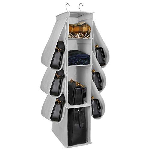 Borsa Organizzatore Armadio con 10 Tasche Traspiranti Storage Bag Organizer per Armadio Camera da Letto con Gancio per Borsetta Zaino Cappello Abiti Scarpe Grigio