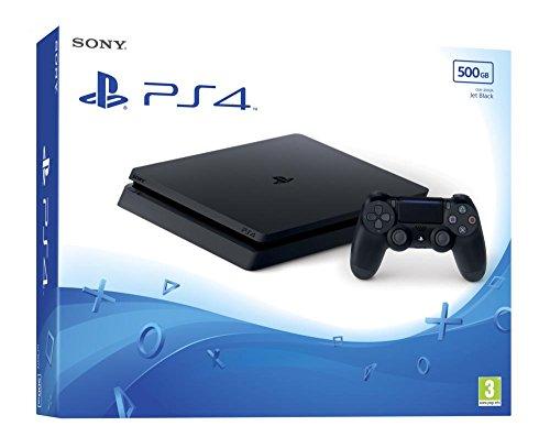 Sony PlayStation 4 Slim 500 Go, Avec 1 manette sans fil DUALSHOCK 4 V2, Châssis F, Noir (Jet Black)