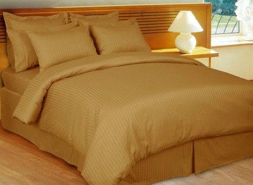 600 Thread Count 100% Egyptian Cotton 3-pcs Duvet Cover Set- Luxury Sateen Stripes (Bronze, King/California King)