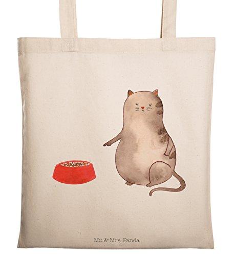 Mr. & Mrs. Panda Einkaufstasche, Jutebeutel, Tragetasche Katze Napf - Farbe Transparent