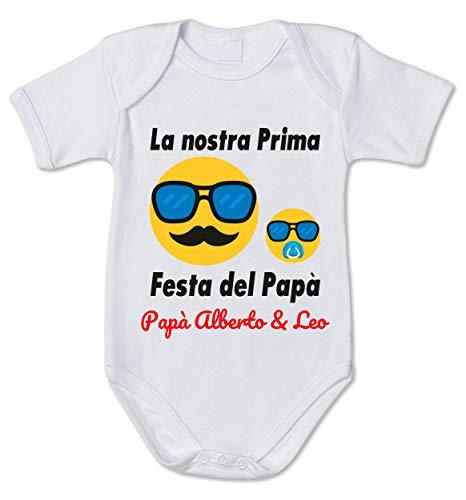 Body Neonato Divertenti papà Personalizzabile Maschietto La Nostra Prima Festa del papà - Idea Regalo Festa del papà