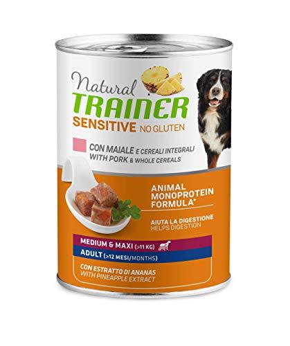 Trainer Natural Sensitive No Glutine - Cibo Umido per Cani Medium-Maxi Adulti con Maiale e Cereali Integrali Pack 12 x 400gr - 3,6kg