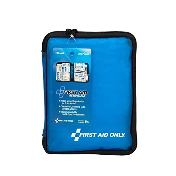 First aid only all-purpose medical first aid kit, 320 pieces emergency kit of first aid supplies 4 contains 299 essential first aid supplies for treating minor aches and injuries clear plastic liner in nylon case for organization and easy access to first aid supplies in an emergency soft sided, zippered case ideal for home, travel and on the go use