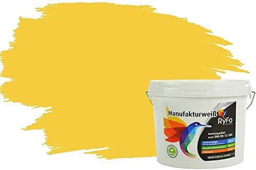 RyFo Colors Bunte Wandfarbe Manufakturweiß Nektarinengelb 3l - weitere Gelb Farbtöne und Größen erhältlich, Deckkraft Klasse 1, Nassabrieb Klasse 1