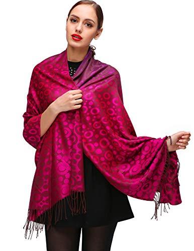 Shmily Girl Damen Schultertuch Stola - Eleganter Pashmina Schal mit floralem Muster in vielen Farben (One Size, Rot-c072)