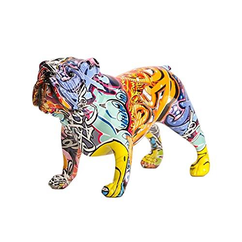Miniaturmodell Kreative Bunte englische Bulldogge Figuren Moderne Graffiti-Kunst Home Decorations Zimmer Bücherregal FERNSEHER Kabinettdekor Tierverzierung...